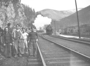Young Wallace Boys on the Tracks West of the Depot